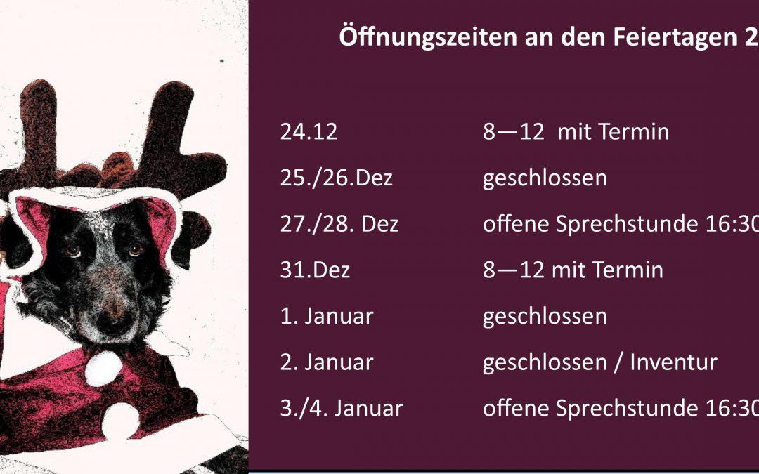 Öffnungszeiten an den Feiertagen 2018